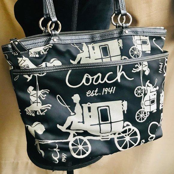 Coach Handbags - COACH Vintage Signature Stagecoach Tote